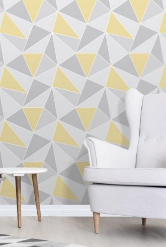 Apex Geometric Yellow & Grey By Fine Decor
