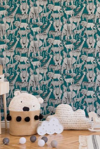 Jungle Animals Vert by Superfresco Easy