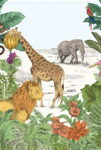 Watercolour Jungle Mural by Graham & Brown
