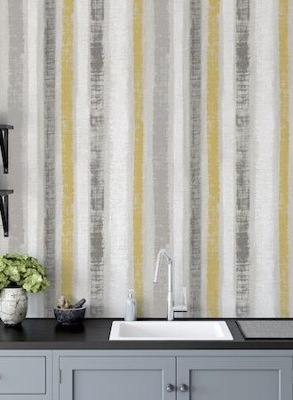 ArtiStick Painted Stripe Ochre/Grey by Arthouse