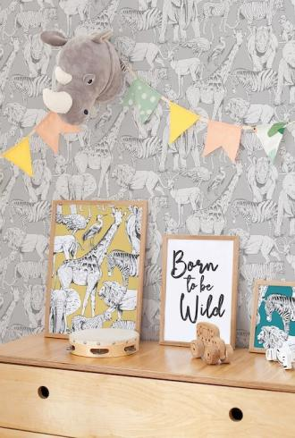 Jungle Animals Grey by Graham & Brown