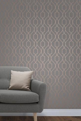 Apex Geometric Trellis Charcoal Grey and Copper By Fine Decor