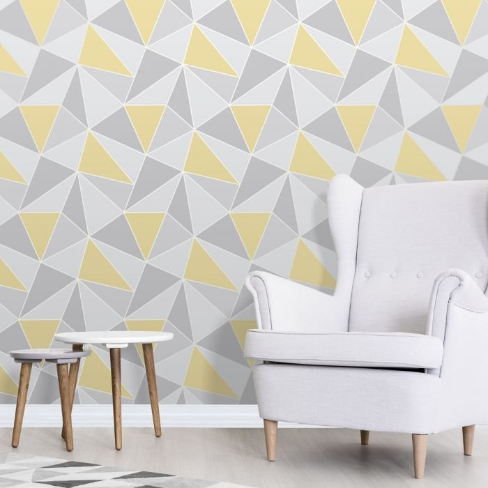 Apex Geometric Yellow & Grey By Fine Decor