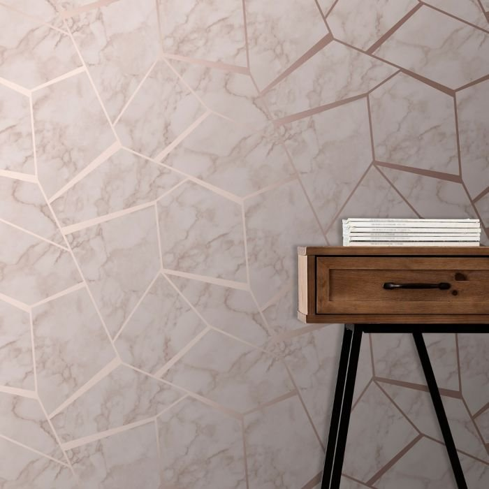 Fractal Geometric Marble Wallpaper Rose Gold by Fine Decor