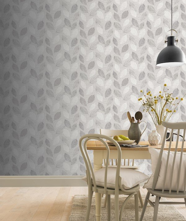 Linen Leaf Grey by Arthouse