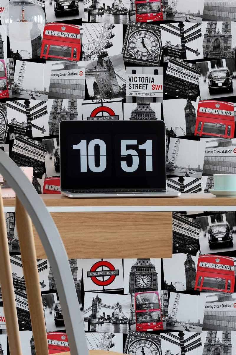 London Montage Black / Red by Graham & Brown