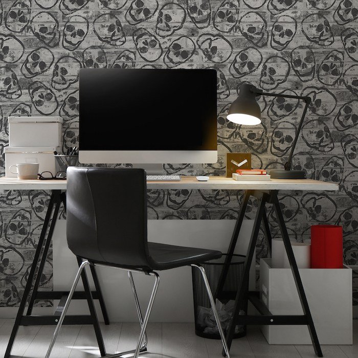Skull Wall Grey by Graham & Brown