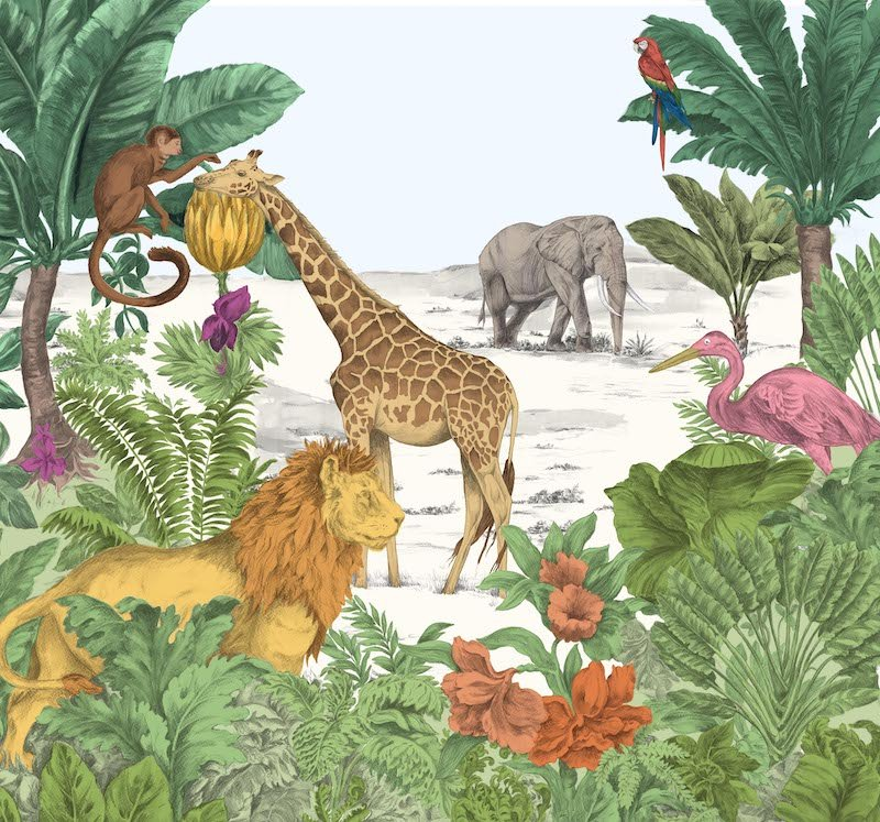 Watercolour Jungle Mural by Art For The Home